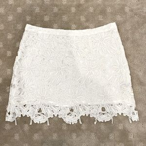 Free People Mini White Floral Skirt